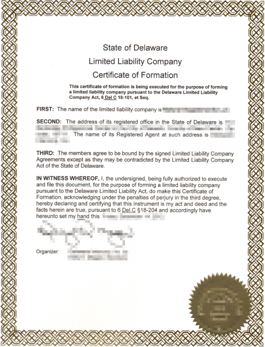 Certificate Of Formation Delaware