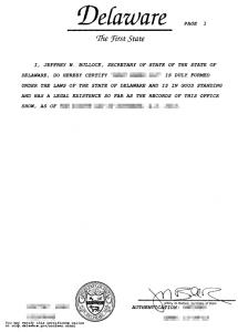 Certificate of good standing spółki LLC z Delaware